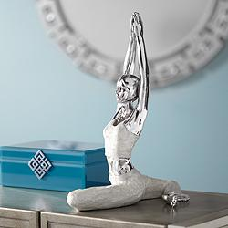 "Half Pigeon Yoga Pose 16 1/4"" High Silver Sculpture"