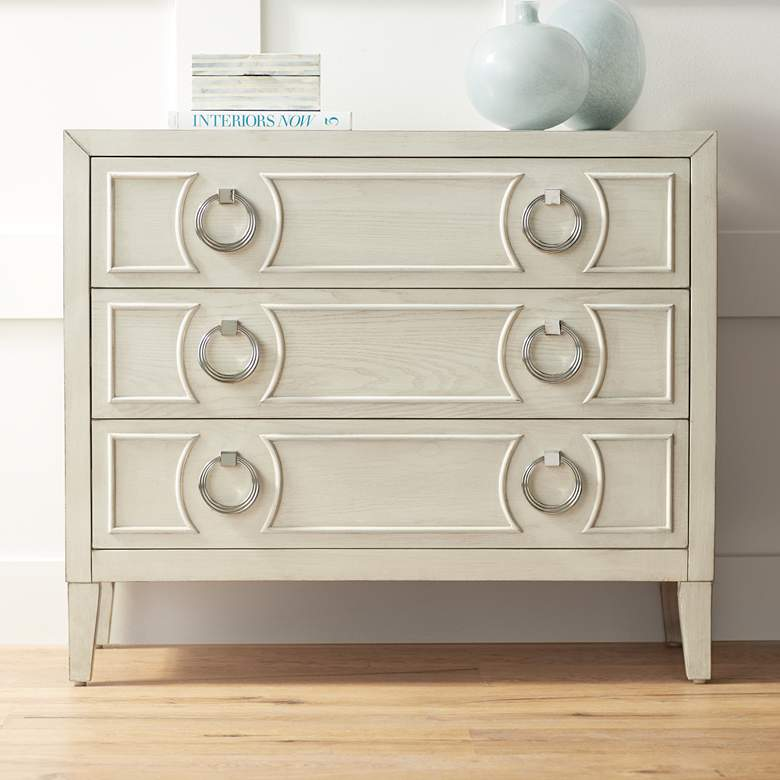 "Reeds 39 1/2"" Wide White Wood 3-Drawer Accent Chest"