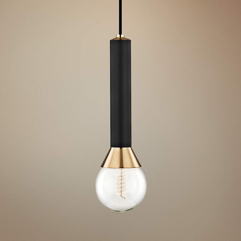 "Mitzi Via 5"" Wide Polished Brass and Black Mini Pendant"