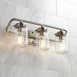 "Nichols 24"" Wide Brushed Nickel 3-Light Bath Light"