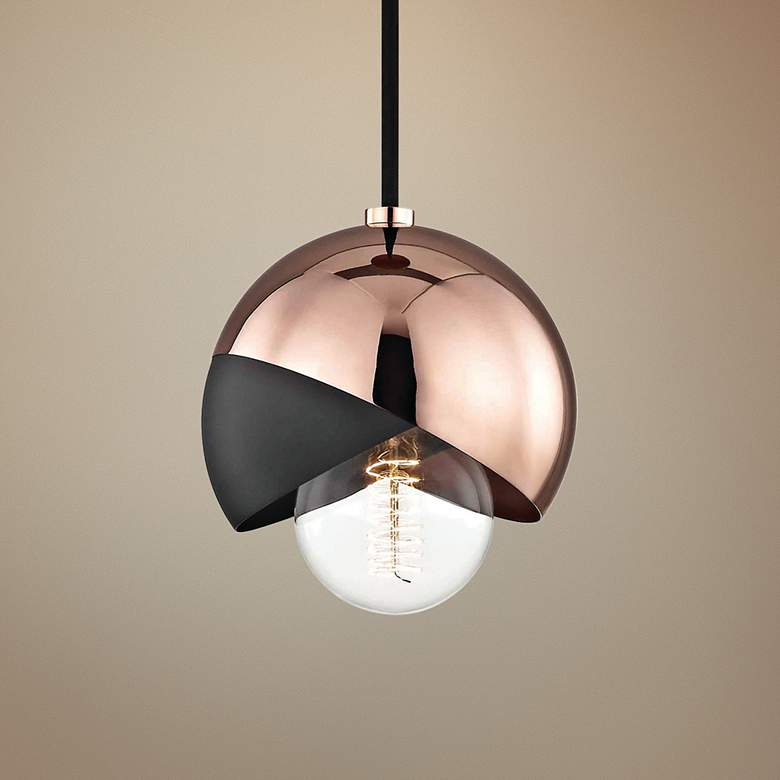 "Mitzi Emma 6"" Wide Polished Copper Mini Pendant"