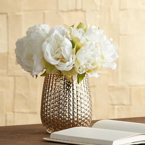 "White Peony 8""H Faux Flowers in a Mercury Glass Vase"