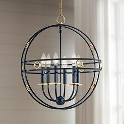 "Mitzi Jade 18"" Wide Gold Leaf and Navy 6-Light Pendant"