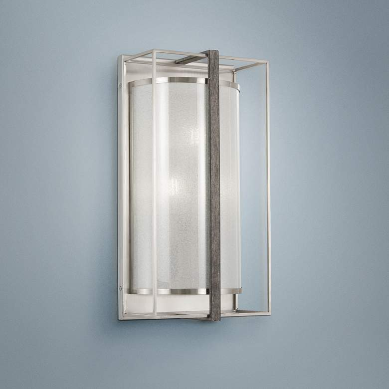 "Tyson's Gate 18""H Brushed Nickel with Shale Wood"