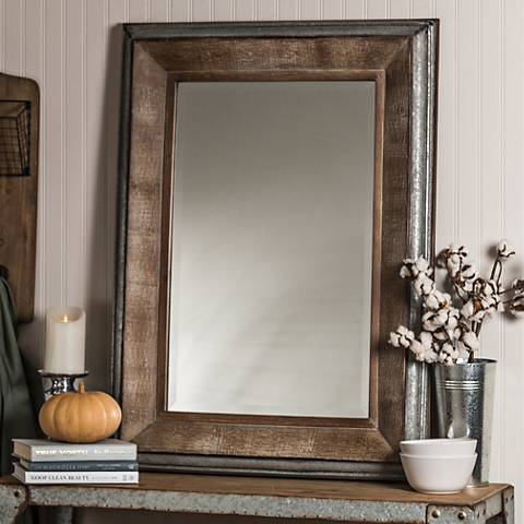 "Thompson Reclaimed Wood 28 3/4"" x 39"" Wall Mirror"
