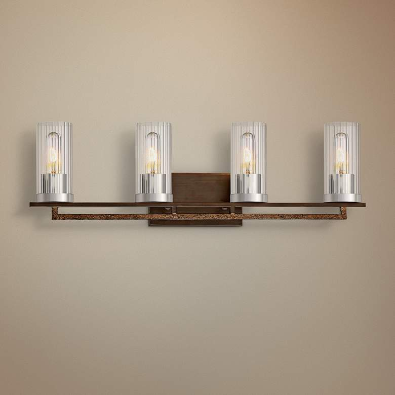 "Maddox Roe 29 3/4"" Wide Iron Ore 4-Light Bath Light"