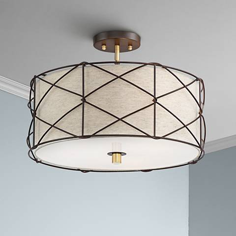 "Brennan 18"" Wide Oatmeal Linen 3-Light Ceiling Light"