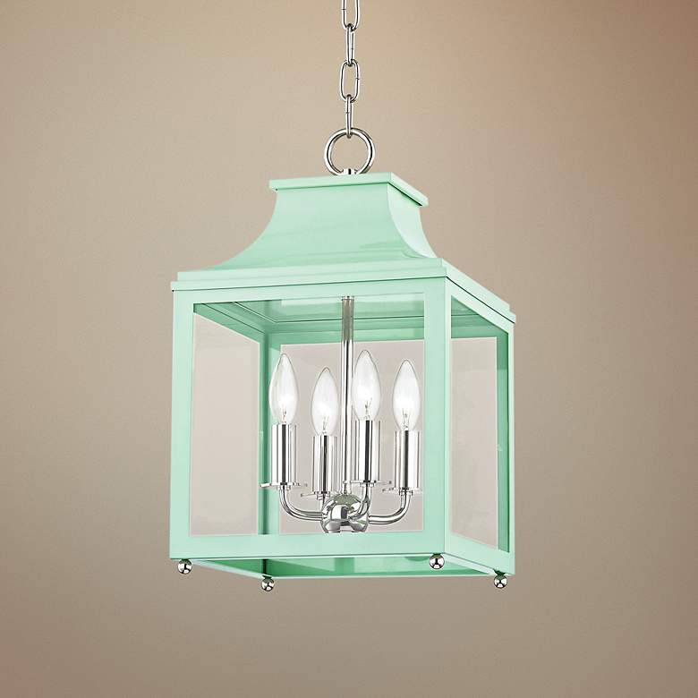 "Leigh 11 1/2""W Polished Nickel and Mint 4-Light Mini Pendant"