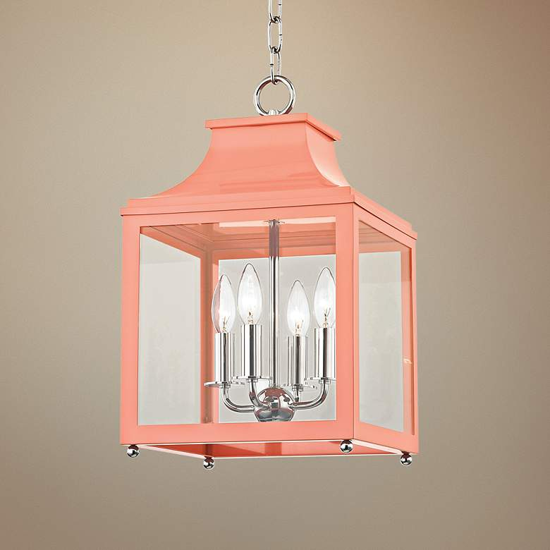 "Leigh 11 1/2""W Polished Nickel and Pink 4-Light"