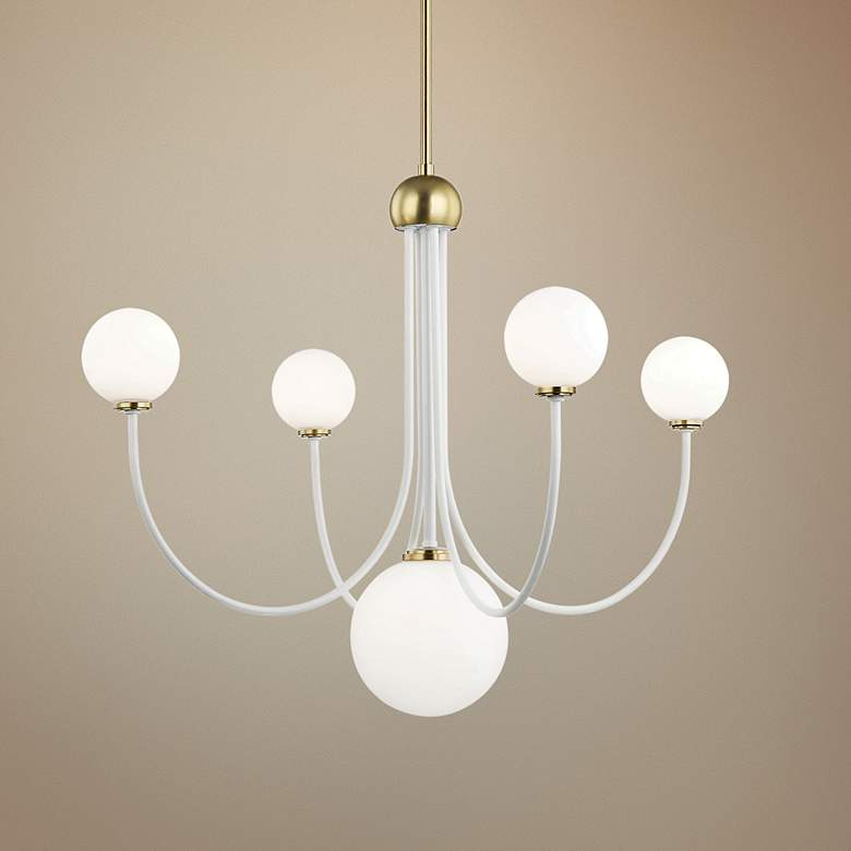 "Mitzi Coco 30""W Aged Brass and White 5-Light"