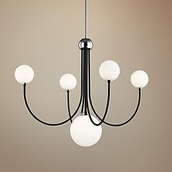 "Coco 30""W Polished Nickel and Black 5-Light LED Chandelier"