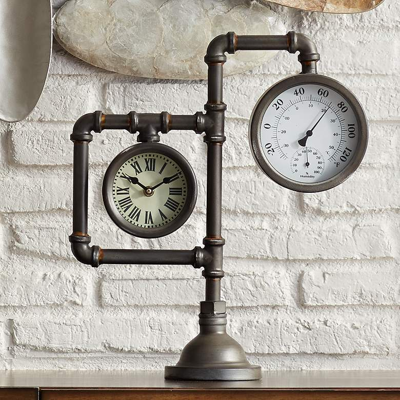 "Strauss 17 1/4"" High Industrial Table Clock with Thermometer"