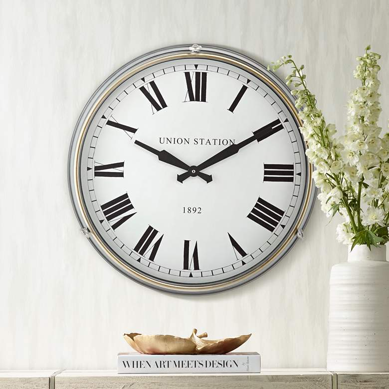"Union Station 21 1/4"" High Classic Train Wall Clock"