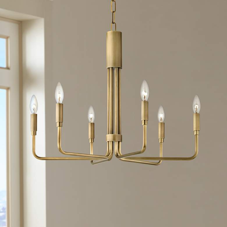 "Mitzi Brigitte 25"" Wide Aged Brass 6-Light Chandelier"