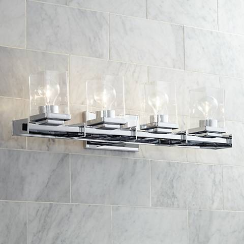"Possini Euro Tribune 32"" Wide Chrome 4-Light Bath Light"
