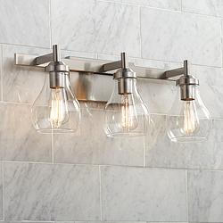 "Possini Euro Danvers 21""W Brushed Nickel 3-Light Bath Light"