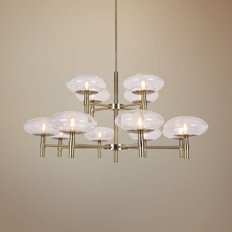 "Grand 42"" Wide Brushed Brass 12-Light LED Chandelier"