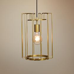 "Wired 9"" Wide Gold LED Mini Pendant"
