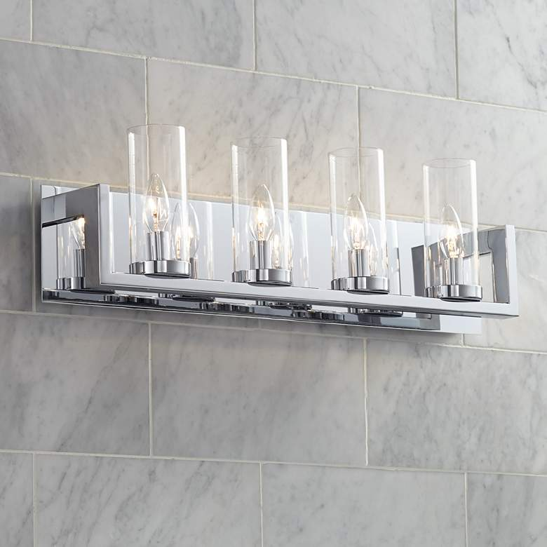 "Possini Euro Alexius 25"" Wide Chrome 4-Light Bath Light"