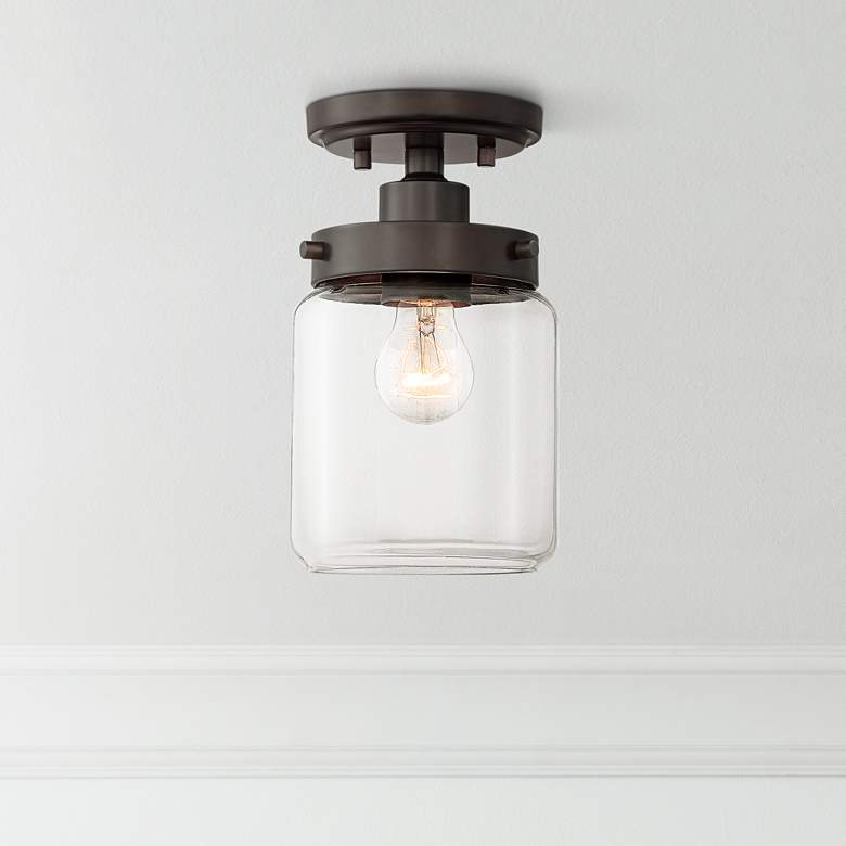 "Devonshire 6"" Wide Bronze and Glass Ceiling Light"