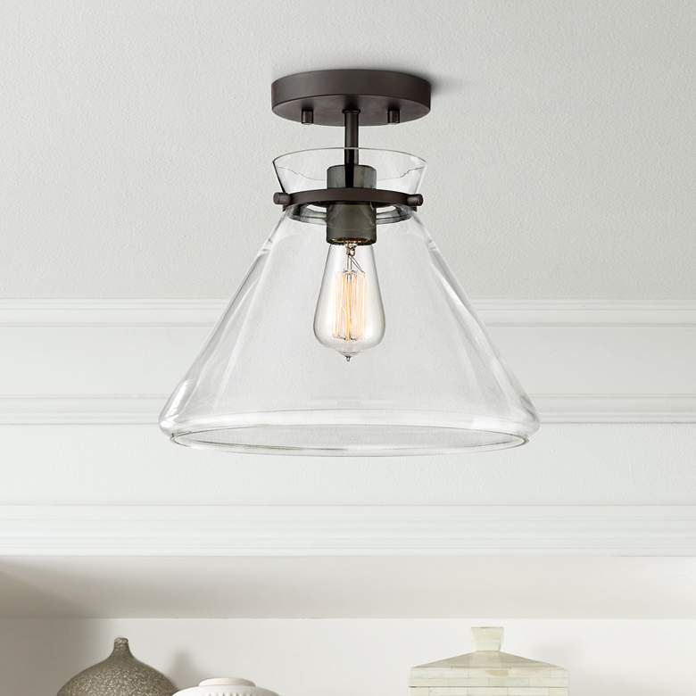 "Possini Euro Jensen 12 1/4""W Bronze and Glass Ceiling Light"