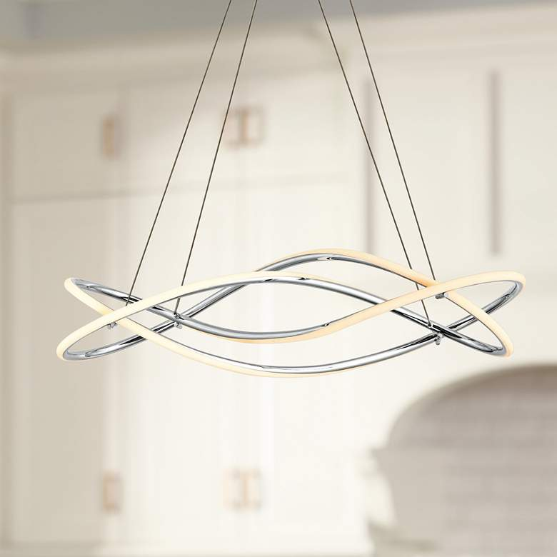 "ET2 Coaster 10"" Wide Polished Chrome LED Island Pendant"