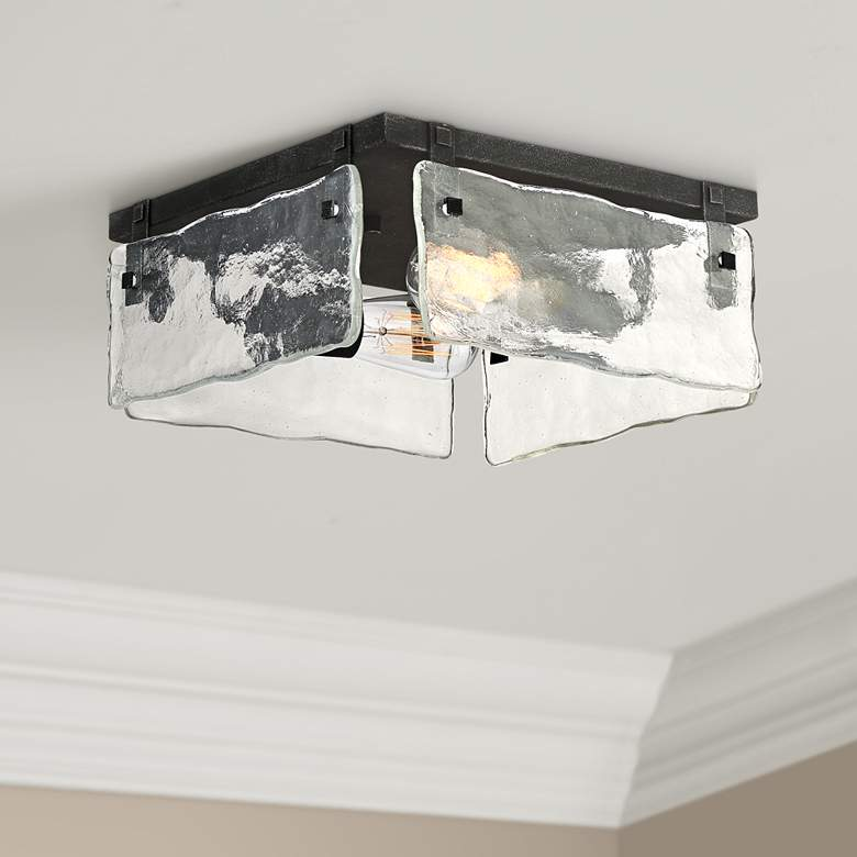 "Cassington 11 3/4"" Wide Glass Square 2-Light Ceiling"