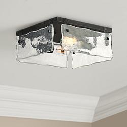 "Cassington 11 3/4"" Wide Glass Square 2-Light Ceiling Light"