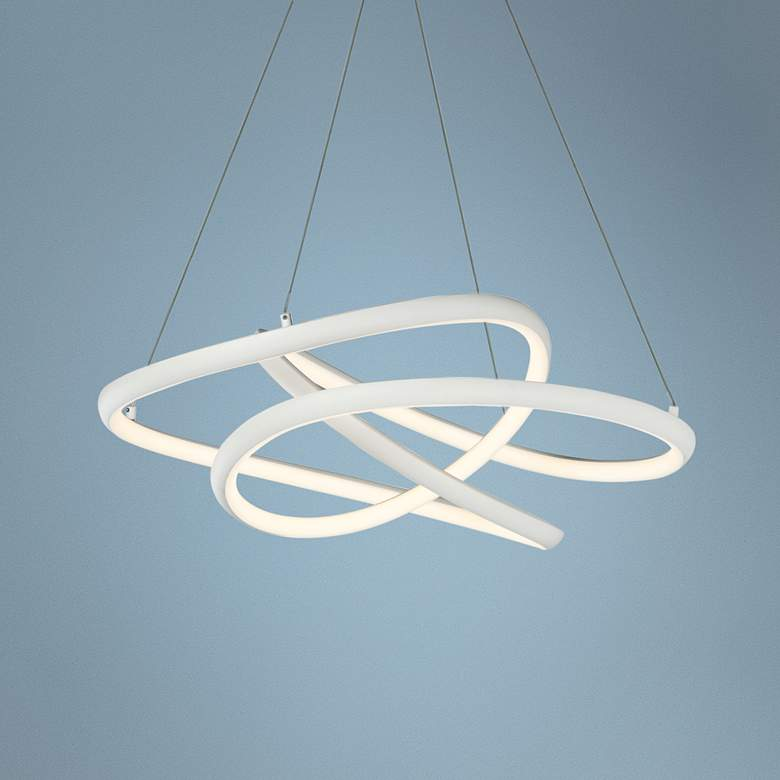 "ET2 Twisted 24 1/2"" Wide Matte White LED Pendant Light"
