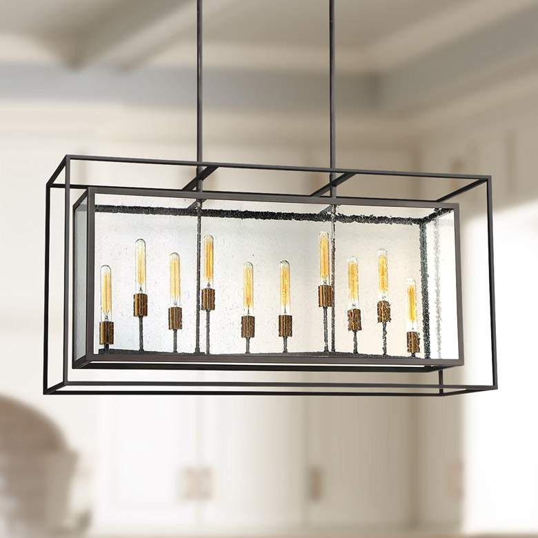 "Eurofase Affilato 48""W Black Kitchen Island Light Chandelier"