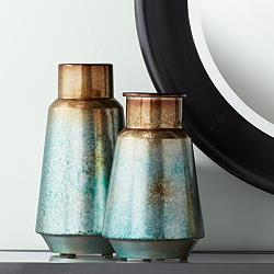 "Carmen 14 1/2"" and 12"" High Blue Copper Modern Vases Set"