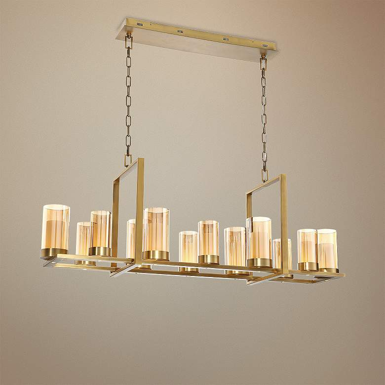 "Eurofase Londra 49 1/2""W Brass LED Rectangular Chandelier"