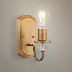 "Safra 10 1/2"" High Bronze and Brushed Brass Wall Sconce"