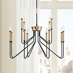 "Eurofase Rado 31 1/4"" Wide Black 12-Light 2-Tier Chandelier"
