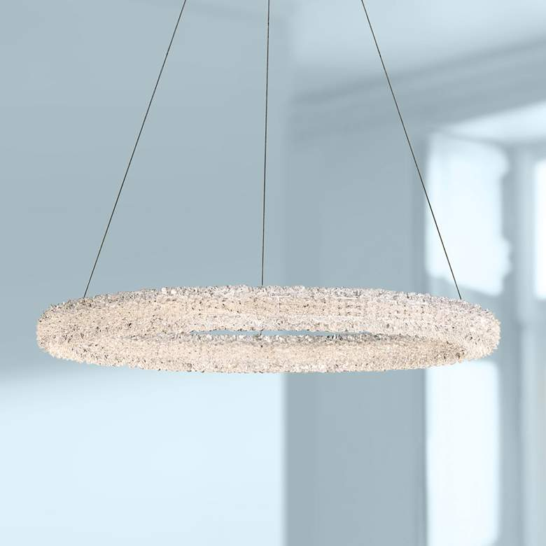 "Eurofase Sassi 27"" Wide Chrome Round LED Pendant"