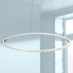 "Eurofase Scoppia 52 1/4""W Chrome LED Oval Ring Pendant Light"