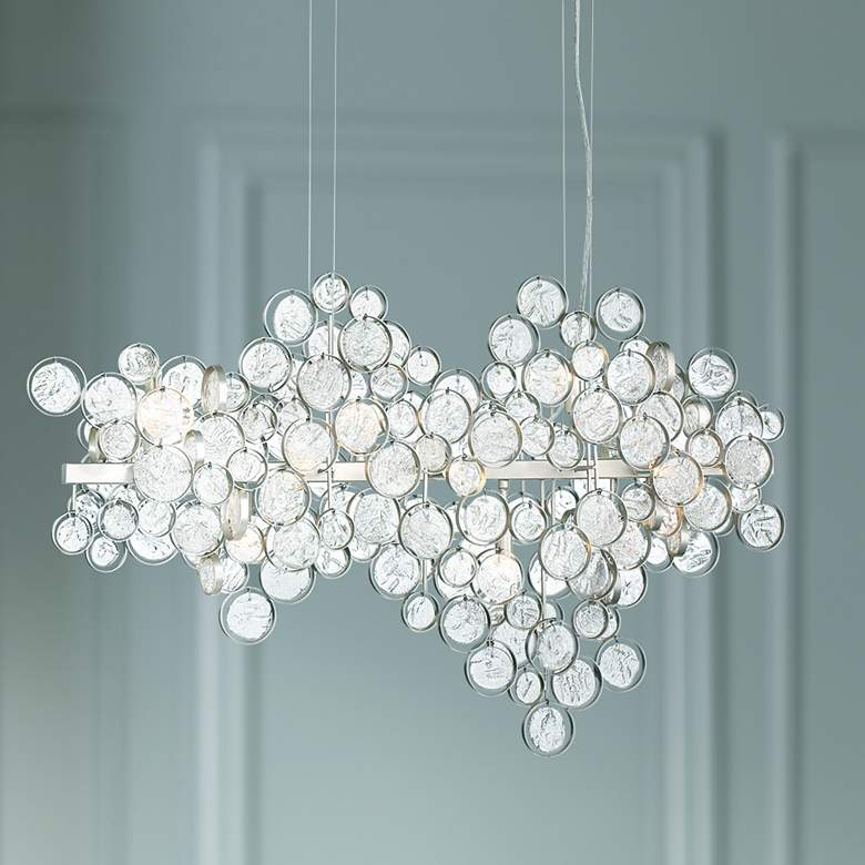 "Trento 40 1/4""W Champagne Silver 12-Light Oval Chandelier"
