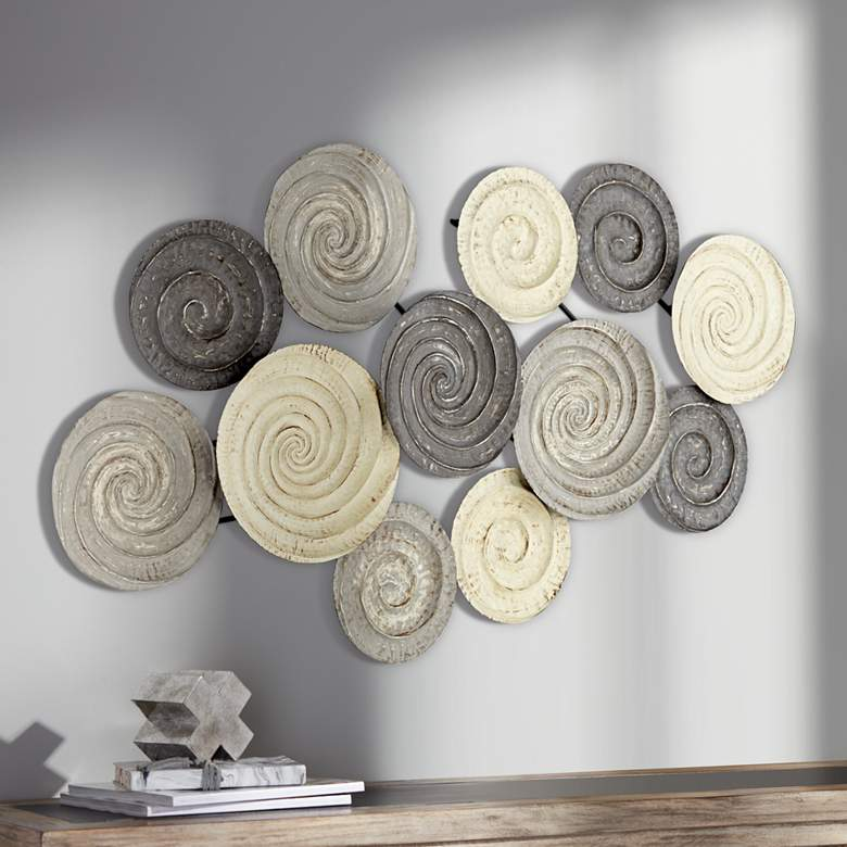 "Spiral Circles 49 1/2"" Wide Painted Metal Wall Art"