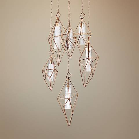 "Verdino Asymmetric 19"" Wide Gold LED Multi Light Pendant"