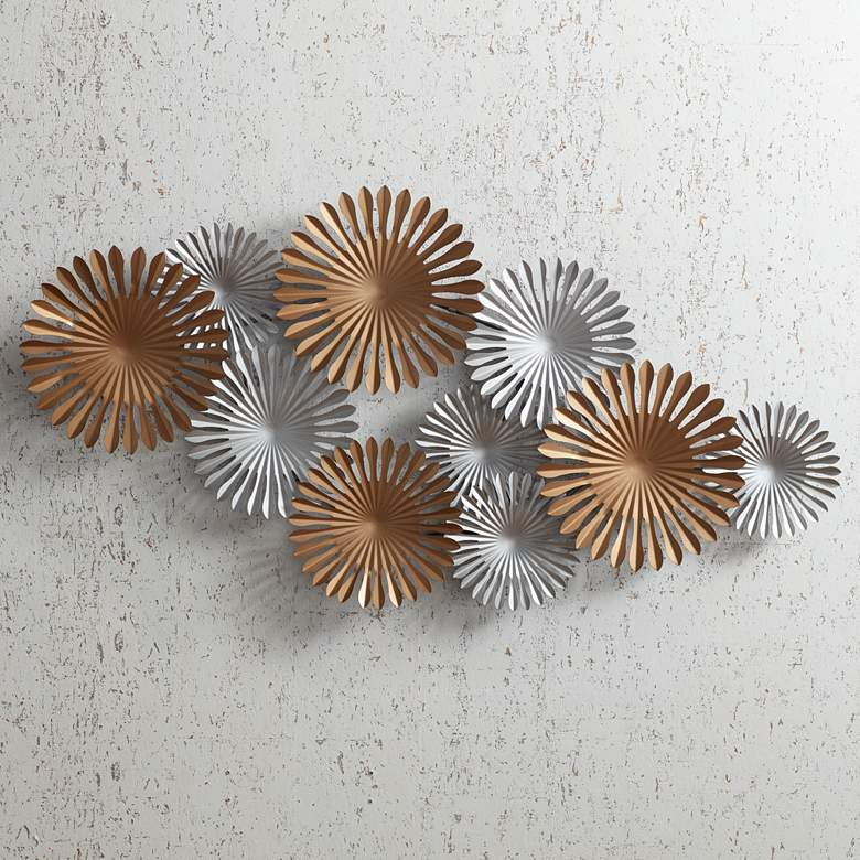 "Sparks 45"" Wide Gold and Silver Metal Wall Art"