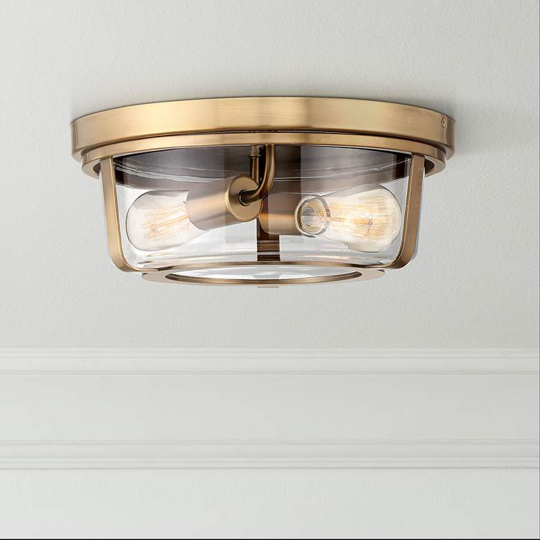 "Angeline 13"" Wide Warm Brass 2-Light Ceiling Light"