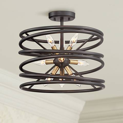 "Genoise 16"" Wide Bronze and Warm Brass 9-Light Ceiling Light"