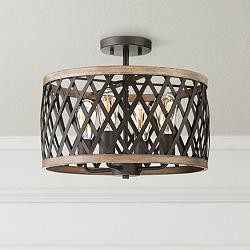 "Trey 16"" Wide Bronze and Woodgrain 4-Light Ceiling Light"