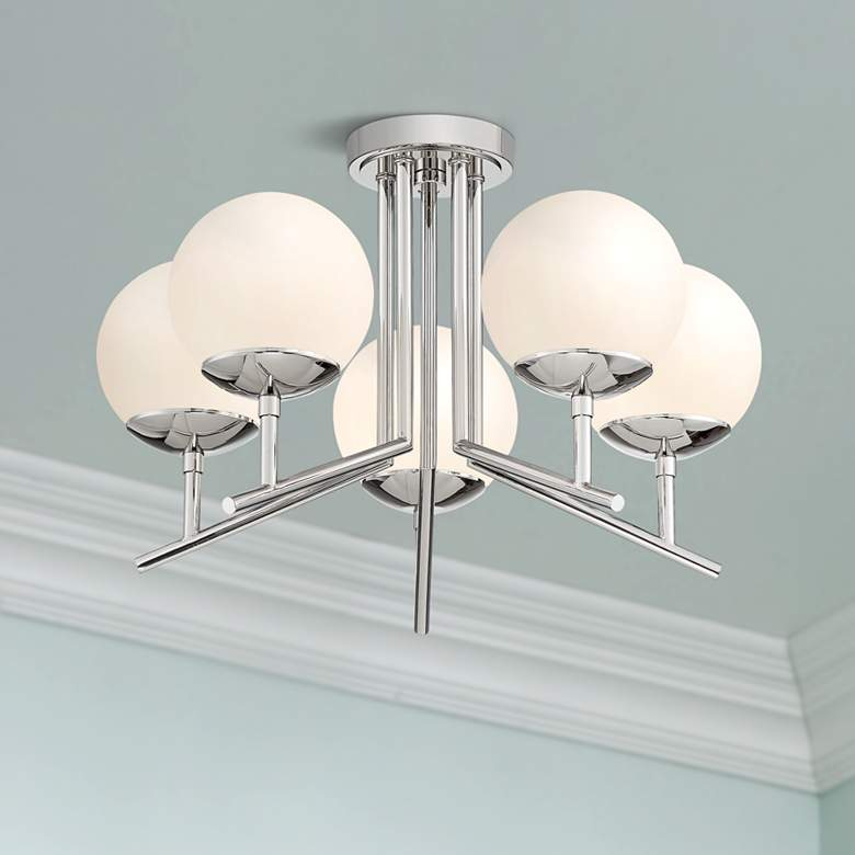 "Catherine 20 1/2"" Wide Polished Nickel 5-Light Ceiling"