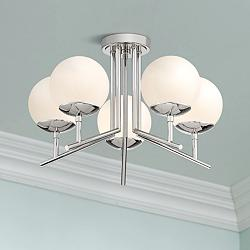 "Catherine 20 1/2"" Wide Polished Nickel 5-Light Ceiling Light"