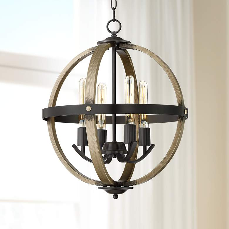 "Kimpton 18""W Dark Bronze and Wood 4-Light LED Orb Chandelier"