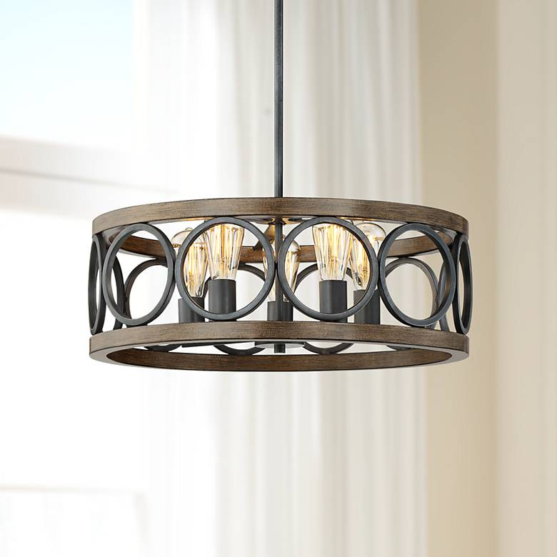 "Salima 21 1/4"" Wide Bronze and Wood 5-Light Chandelier"