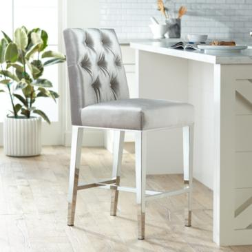 "Megan 27 1/4"" Gray Tufted Back Counter Stool"
