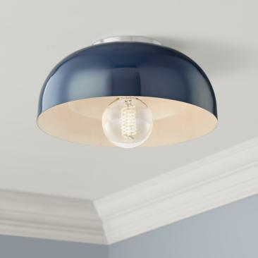 "Mitzi Avery 11""W Polished Nickel Ceiling Light w/ Navy Shade"
