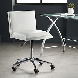 Emario Aspen White Modern Adjule Swivel Office Chair